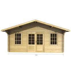 5m x 3m Deluxe Apex Log Cabin - Double Glazing - 34mm Wall Thickness (2089)