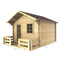 3m x 3m Deluxe Apex Log Cabin - Double Glazing - 34mm Wall Thickness (2025)