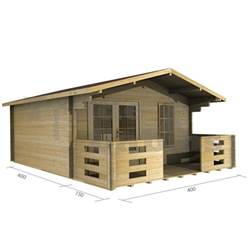 4m x 4m Deluxe Apex Log Cabin - Double Glazing - 34mm Wall Thickness (2046)
