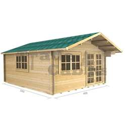 4m x 5m Deluxe Apex Log Cabin - Double Glazing - 34mm Wall Thickness (2061)