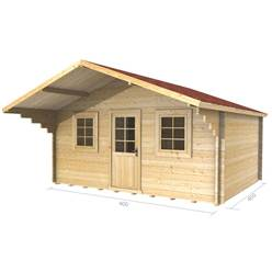 4m x 4m Deluxe Apex + Canopy Log Cabin - Double Glazing - 34mm Wall Thickness (2073)