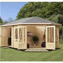 5m x 3m Deluxe Plus Corner Log Cabin (Single Glazing) + Free Floor & Felt & Safety Glass (28mm Tongue and Groove Logs) **Right