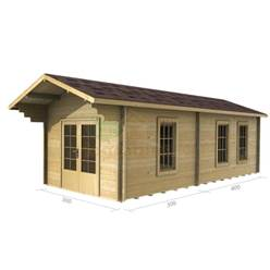 3m x 7m Deluxe Reverse Apex Log Cabin - Double Glazing - 34mm Wall Thickness (2018)