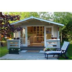 4m x 3m Apex Log Cabin - Double Glazing - 34mm Wall Thickness (5120)