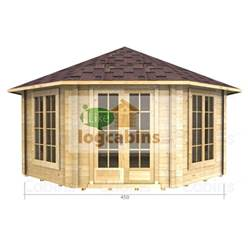 4.5m x 4.5m Deluxe Octagonal Log Cabin - Double Glazing - 34mm Wall Thickness (2082)