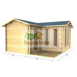 4m x 4m Deluxe Apex Log Cabin - Double Glazing - 34mm Wall Thickness (2055)