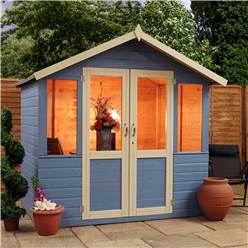 7 x 5 Deluxe Tongue and Groove Summerhouse with a Free Veranda with Half Glazed Doors