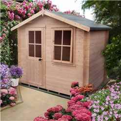 2.7m x 2.7m Premier Log Cabin With Half Glazed Single Door With Opening Window + Free Floor & Felt (19mm)