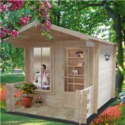 2.09m x 2.09m Superior Log Cabin + Canopy - 19mm Tongue and Groove Logs + Optional Veranda