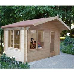 3.59m x 3.59m Superior Apex Log Cabin + Single Door - 28mm Tongue and Groove Logs