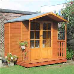 7 x 7 Superior Summerhouse + Fully Glazed Doors with Veranda (12mm Tongue and Groove Floor)