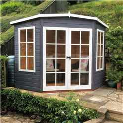 ** IN STOCK LIVE BOOKING ** 7 x 7 Superior Corner Summerhouse (12mm Tongue and Groove Floor)