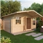 4m x 3m Deluxe Log Cabin + Canopy (Double Glazing) + Free Floor & Felt & Safety Glass (34mm Tongue and Groove Logs)