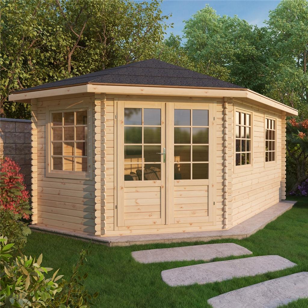 5m x 3m grande corner log cabin 28mm. Black Bedroom Furniture Sets. Home Design Ideas