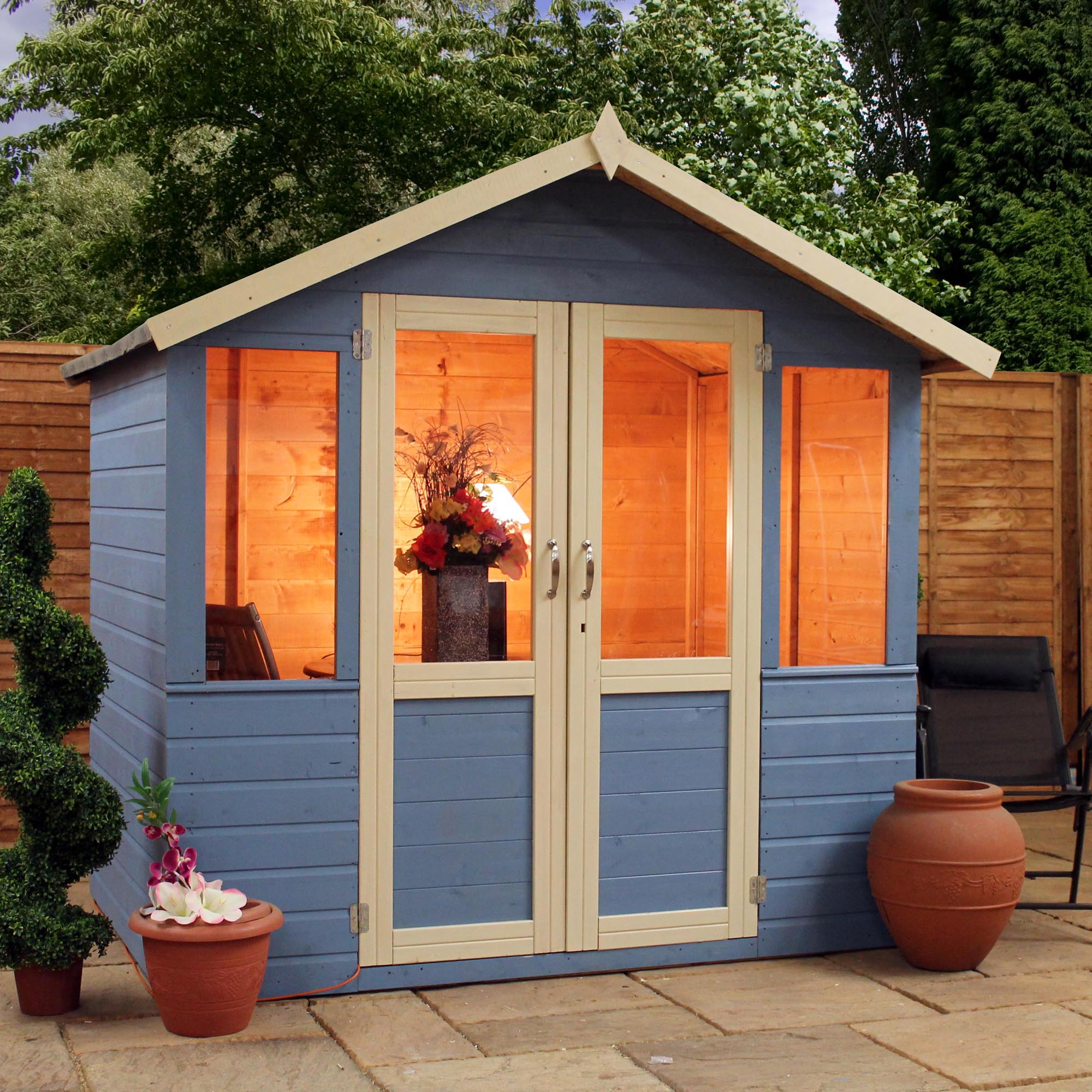 clifton summerhouses 7 x 5 deluxe tongue and groove summerhouse with a free veranda with half glazed doors
